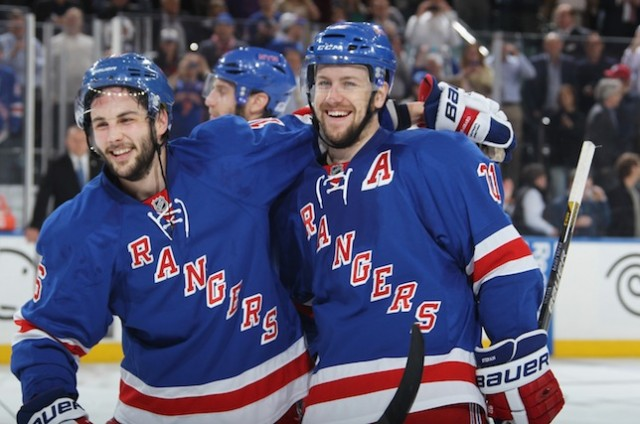 Derek Stepan with Derrick Brassard in Playoffs