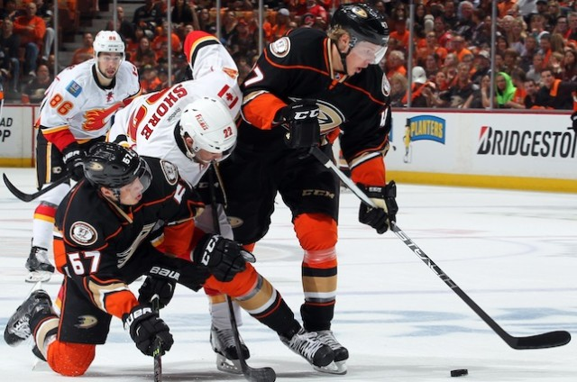 Hampus Lindholm against the Calgary Flames