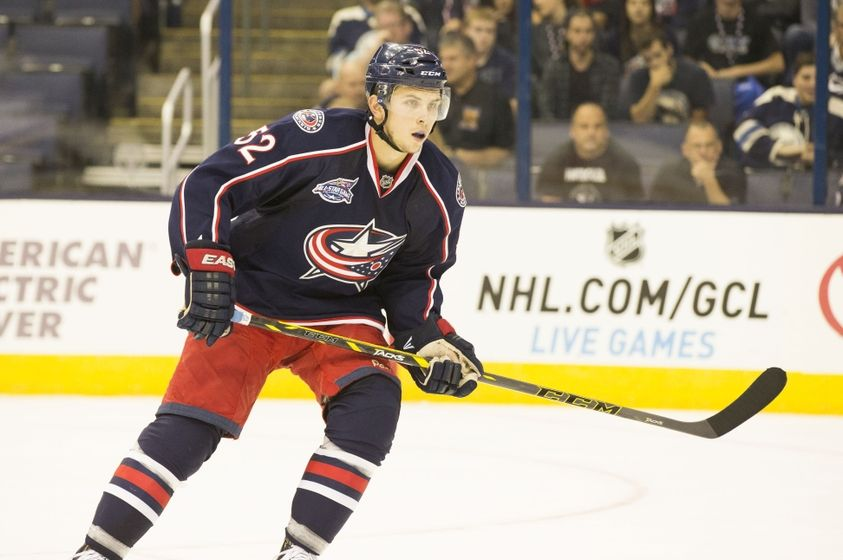 Forward Kerby Rychel from the Columbus Blue Jackets